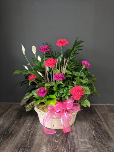 Planter with Fresh Flowers Added