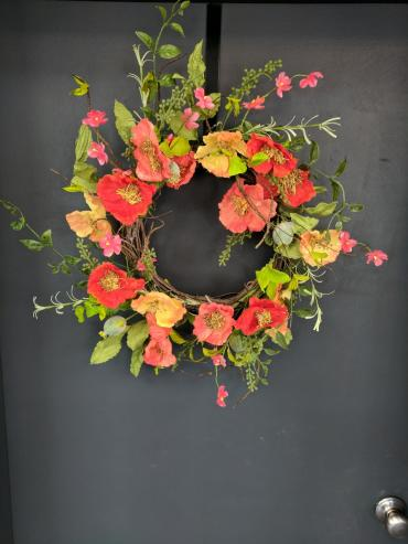 Coral Poppy Wreath