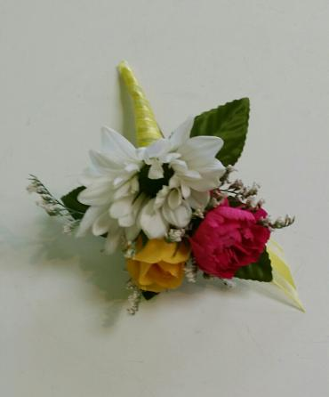 Spring Yellow and Pink Boutonniere