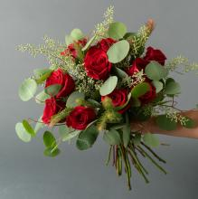 Dozen Rose Bouquet with premium greens